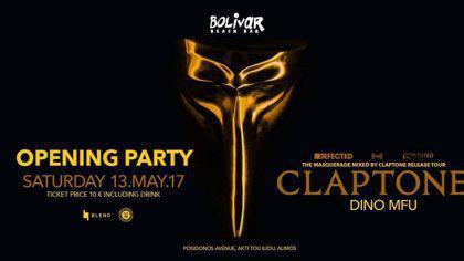 Opening Party Claptone Dino MFU Sat 13 May Bolivar Beach Bar