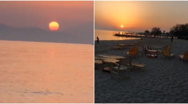Εκπληκτικό ηλιοβασίλεμα από την παραλία του Αλίμου (VIDEO)
